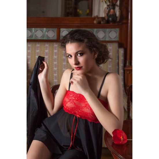 Baby Doll Iulia Red & Black